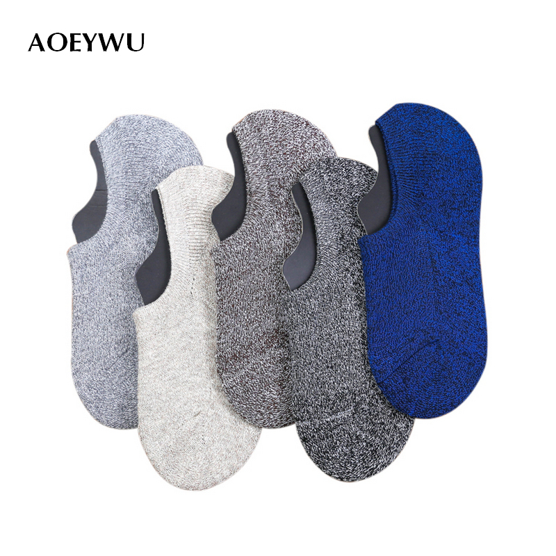 men spring autumn vintage non-slip invisible boat socks male retro terry cotton low sock slippers 5pairs/lot