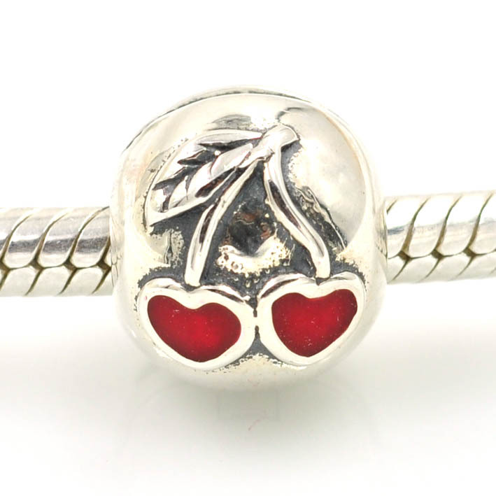 Red Cherry Charm 925 STERLING SILVER EUROPEAN BEAD CHARM FIT BRACELET