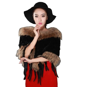 Autumn Winter Women's Genuine Real Knitted Rabbit Fur Poncho with Tassels Lady Pashmina Cloak Shawls Female Wrap VF7011