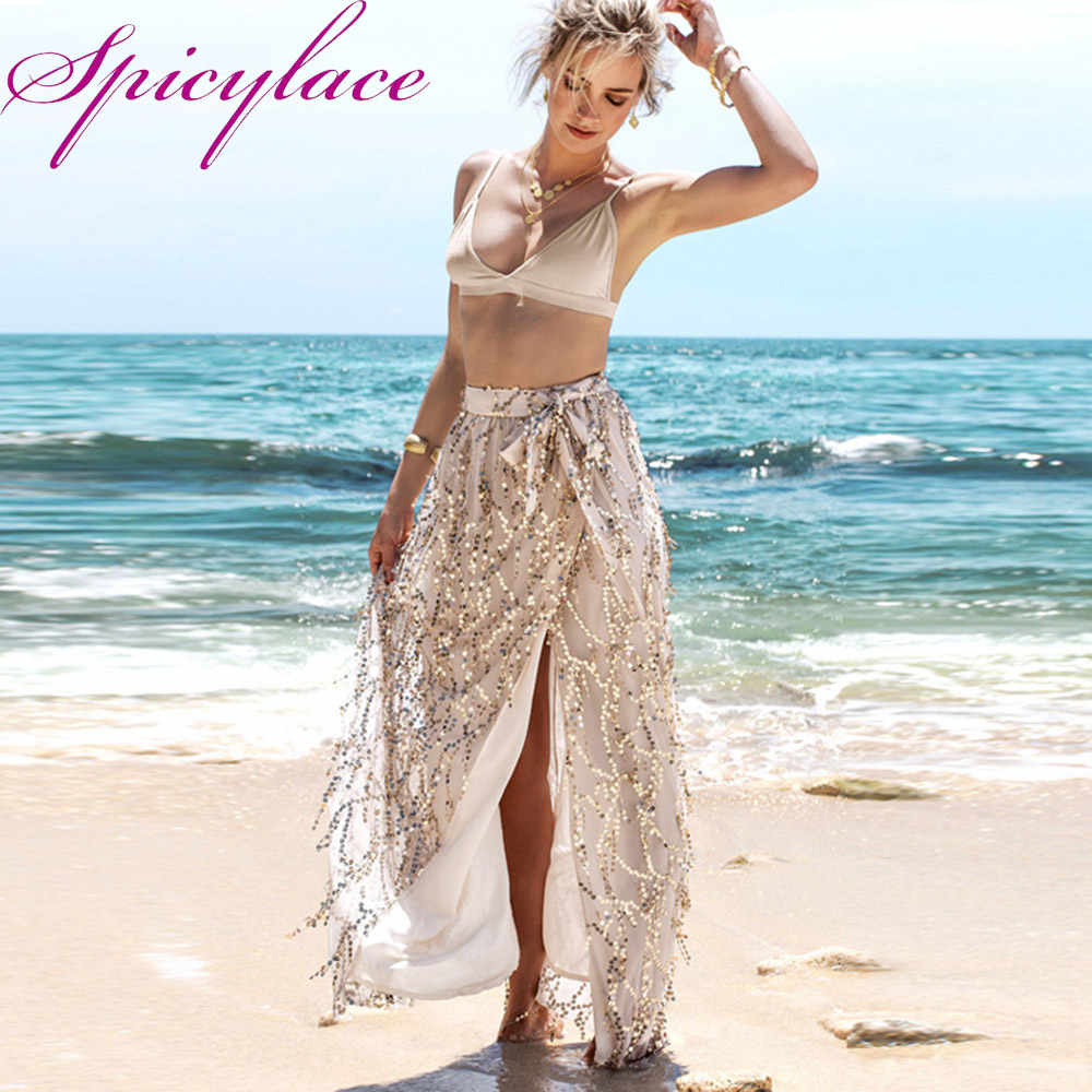 17328932a7 Summer Women Boho Sparkling Sequins Gauze Fringed Split Skirts Slit Maxi  Bow Skirt Sundress Beach Long Skirt
