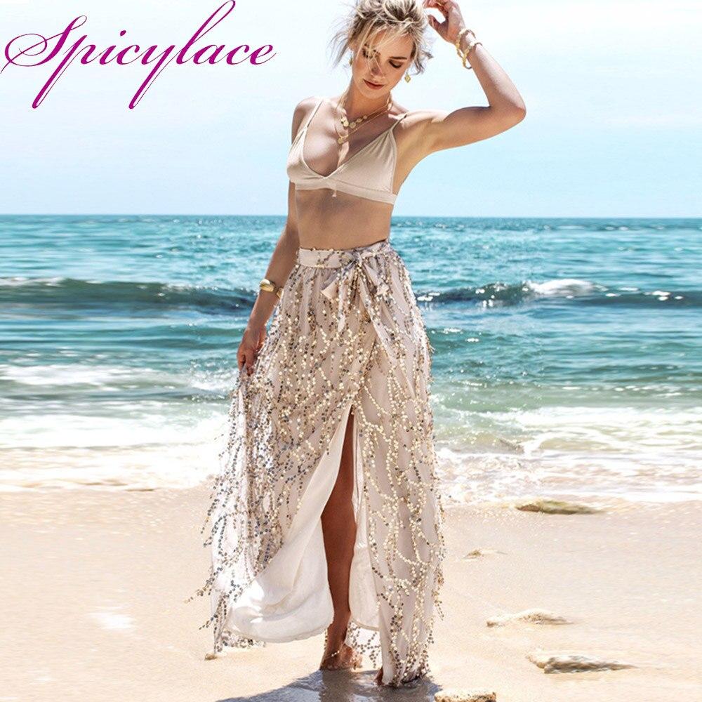 Été femmes Boho paillettes scintillantes gaze frangée Split jupes fente Maxi Bow jupe robe d'été plage longue jupe