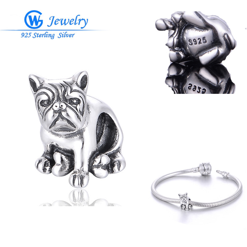 GW նորաձևության զարդեր Big Promotion Dog Charm New Arrival 925 Sterling Silver boncuk DIY Fits European Bracelets T130H10