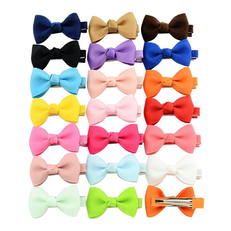 10 Pcs Mini Bow Tie Hair Clip Small Sweet Solid Ribbow Bow Safety Hair Clips Kids Hairpins Accessories Gift
