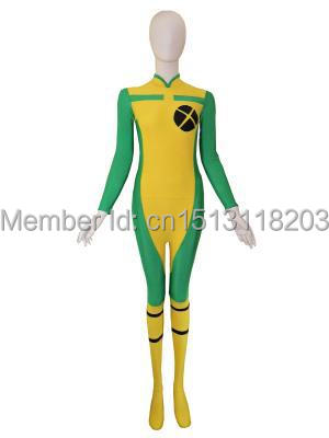 X-men Rogue Costume Spandex Zentai Suit Yellow & Green Rogue Superhero Cosplay Zentai Suit Free Shipping