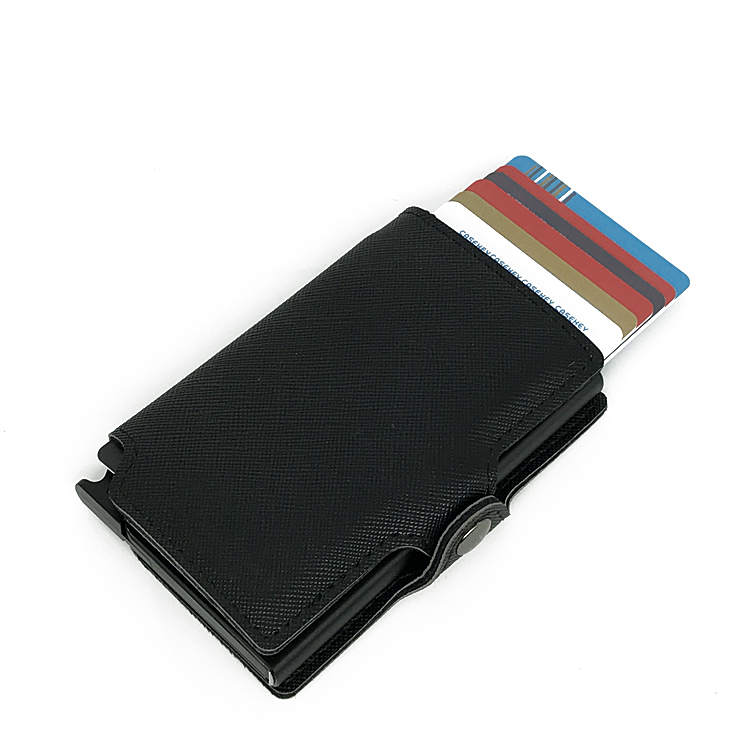 RFID Genuine Leather Credit Card Holder For Men Mini Slim Pop Up Wallet Metal