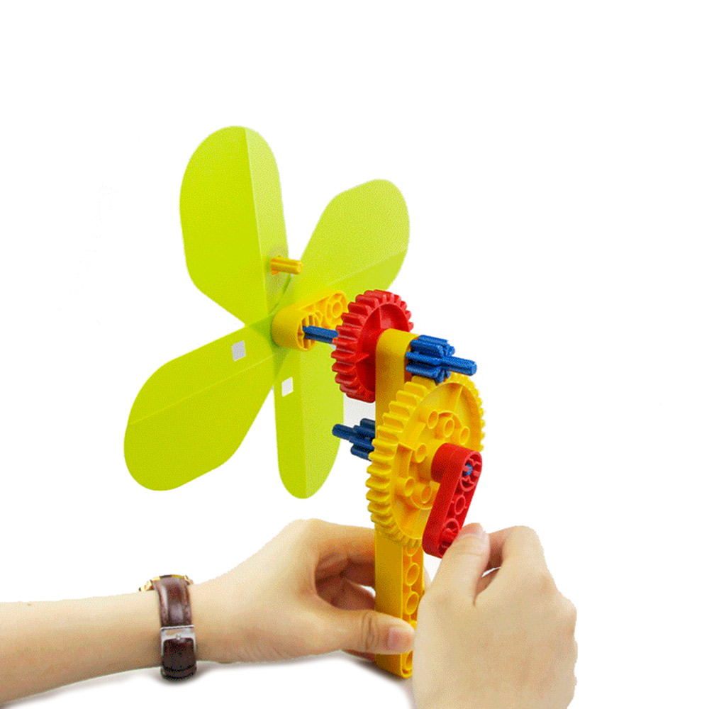 Hand Fan Mechanical Gear Building Blocks,STEM Science Educational Physics Toys, for 2-5 years old