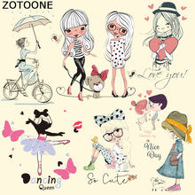 ZOTOONE Cute Girl Heat Transfer A-level Washable Ironing Stickers for Clothing Girls Kids T-Shirt Dresses Heat Press Applique C(China)