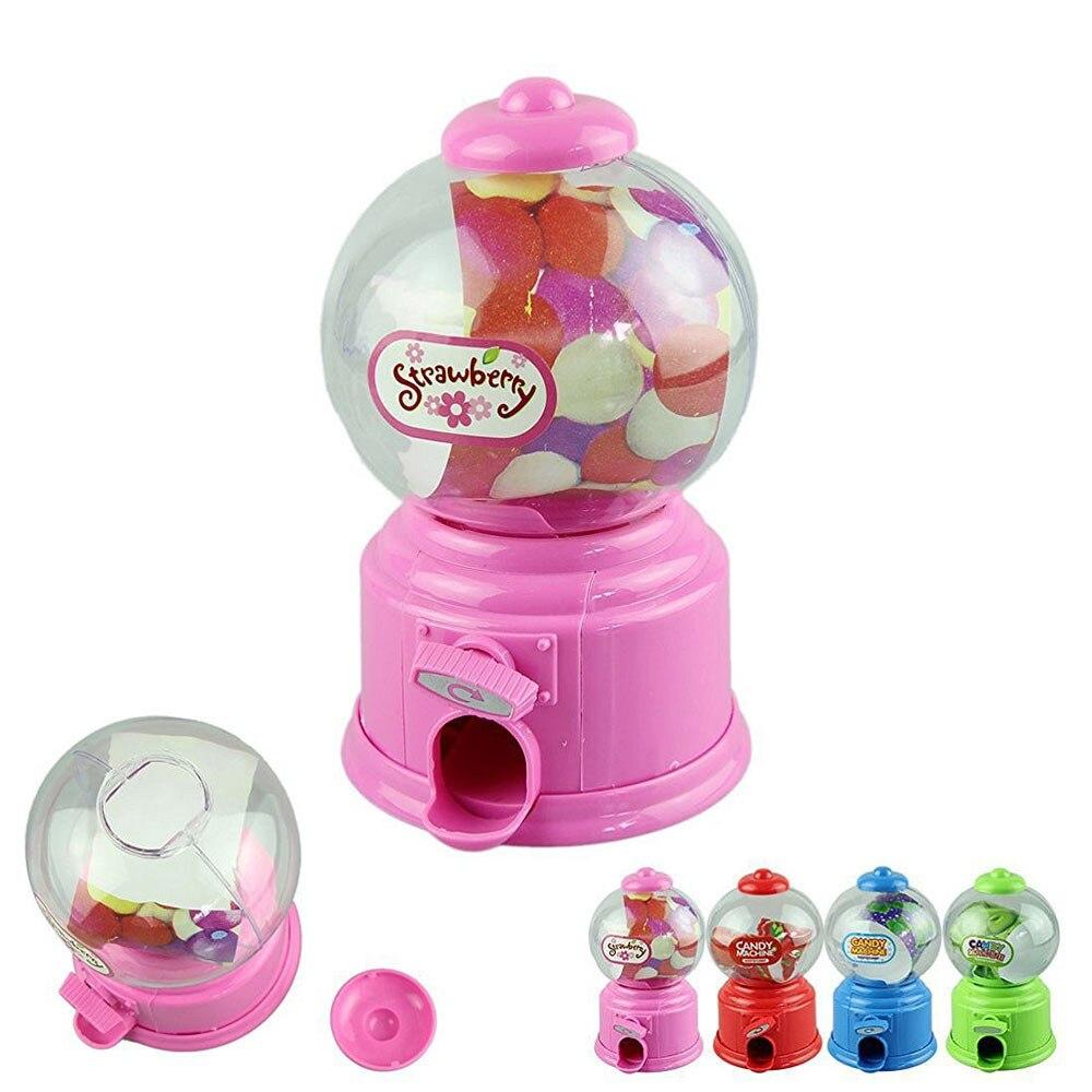Cute Mini Candy Gumball Dispenser Kids Toy Vending Machine Saving Coin Bank Candy machine bebe Maquina de dulces funny P30