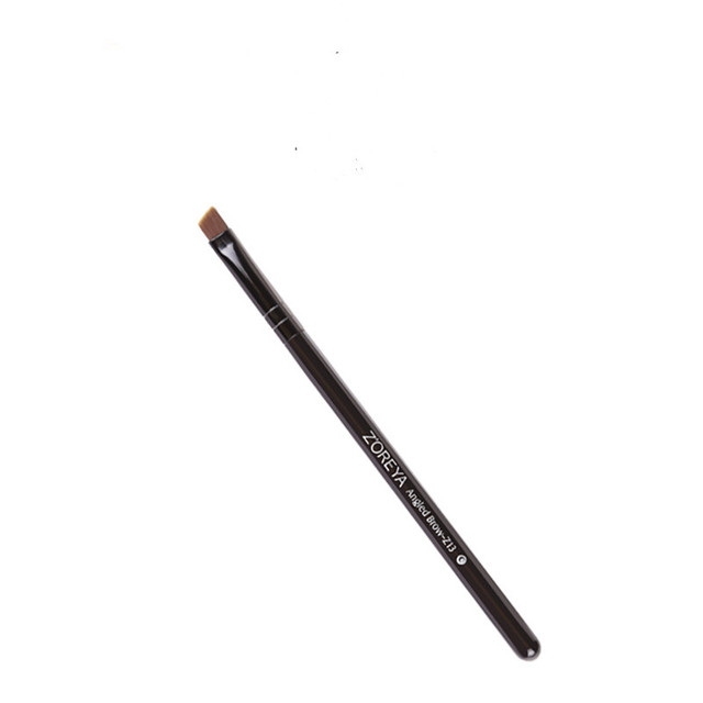 Bevel Angled Nylon Eyebrow Brush Black Wooden Handle Eyebrow Powder Applicator Makeup Brushes Tool 3