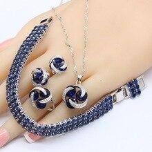 925 серебряные Свадебные Ювелирные наборы для женщин Круглый Темный браслет из голубых кристаллов серьги-гвоздики ожерелье кулон кольца подарочная коробка