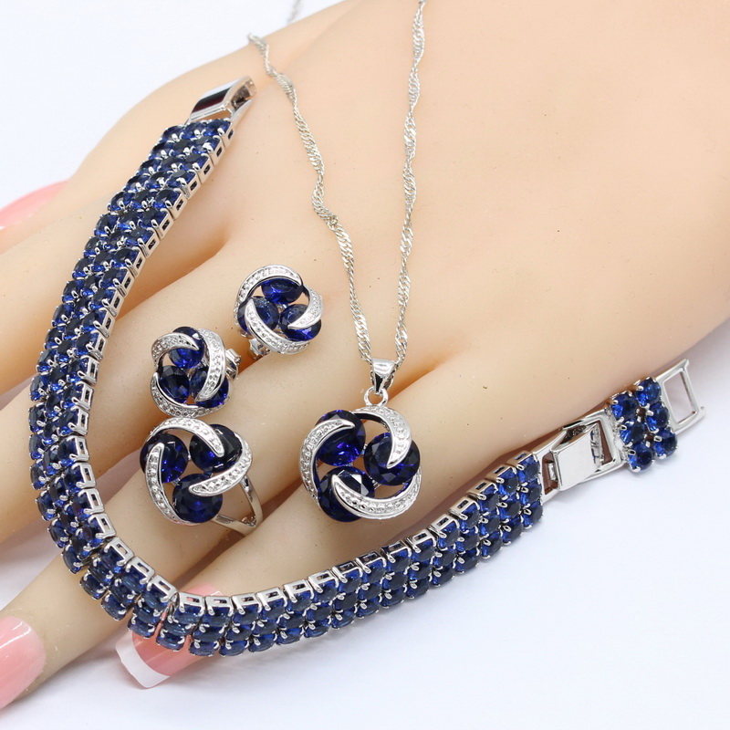Bridal-Jewelry-Sets Necklace Pendant-Rings Crystal Bracelet Free-Gift-Box 925-Silver title=