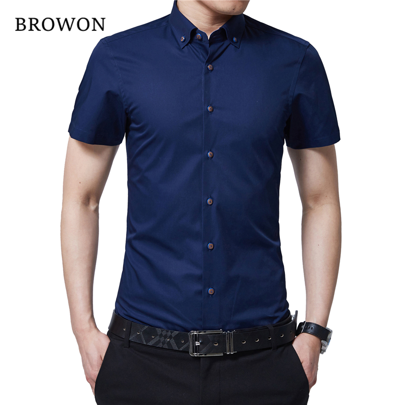 BROWON Korean Men Fashion Summer Shirt Men Short Sleeve Dress Shirt Turn Down Color Business Formal Shirt For Man Brand Clothes