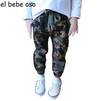El Bebe Oso Cotton Children Cargo Pants For Baby Boys Camouflage Trousers Kids Child Casual Pants
