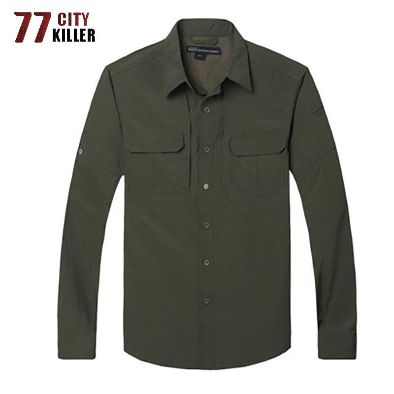77City Killer Military Quick Drying Men Shirt Lightweight Tactical Shirt Summer Breathable Long Sleeve Work Combat Shirts Male