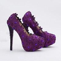 14 cm de Tacón Alto Stiletto Talón Zapatos de Vestir Formales Púrpura Flor Del Cordón de la Novia Zapatos de Diseñador de Las Mujeres zapatos de Tacón Alto de Baile de Graduación bombas