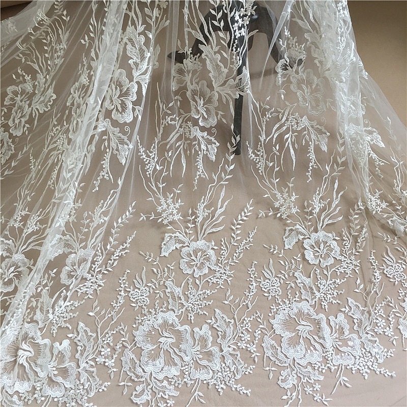 1 Yard Ivory wedding lace fabric with Sequins gorgeous lace fabric Sequined white african lace fabric 2018 high quality lace in Lace from Home Garden