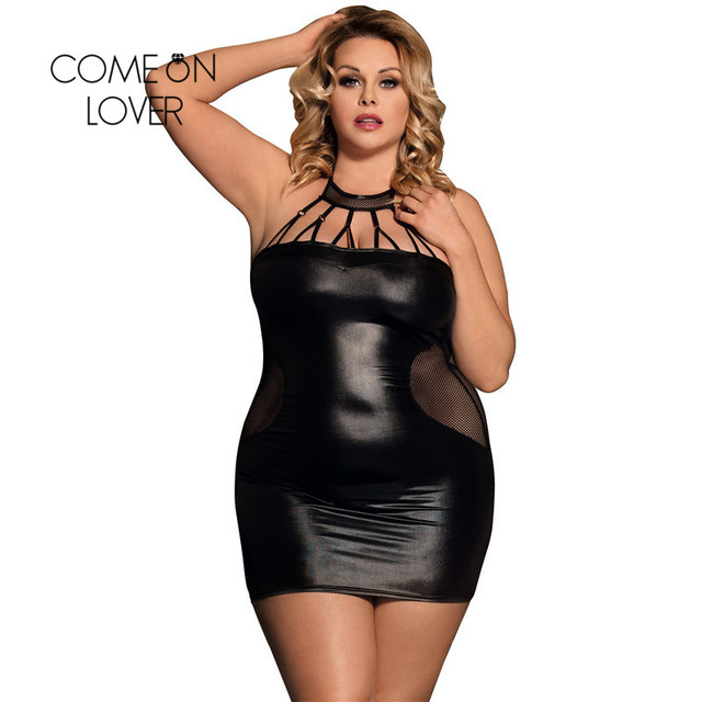 Comeonlover Sexy Lingerie Plus Size Babydoll Dress RI80454 Black Faux Leather Costume Clubwear Lingerie Disfraz Erotico Mujer 1