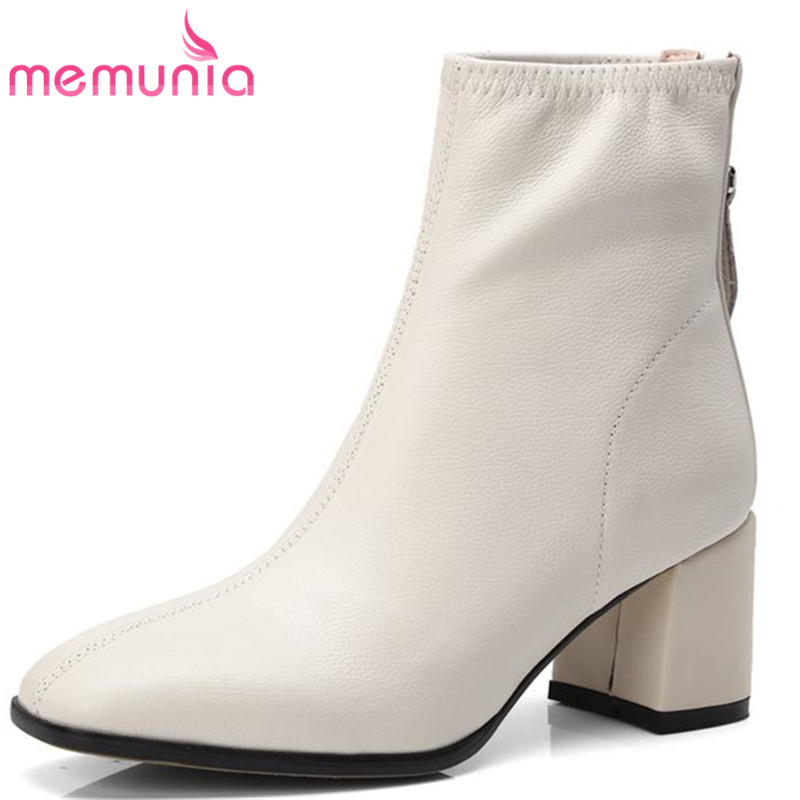 408a0efbed817 Vente black Femmes Cuir Bottes En Cheville Carrés Chaussures Talons Pour  Véritable Mode Simples Bout Memunia ...