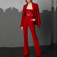 Adyce 2019 New Spring Woman Sets Red Long Sleeve Coat &Jumpsuit 2 Two Pieces Set Night Out Celebrity Evening Party Women Sets