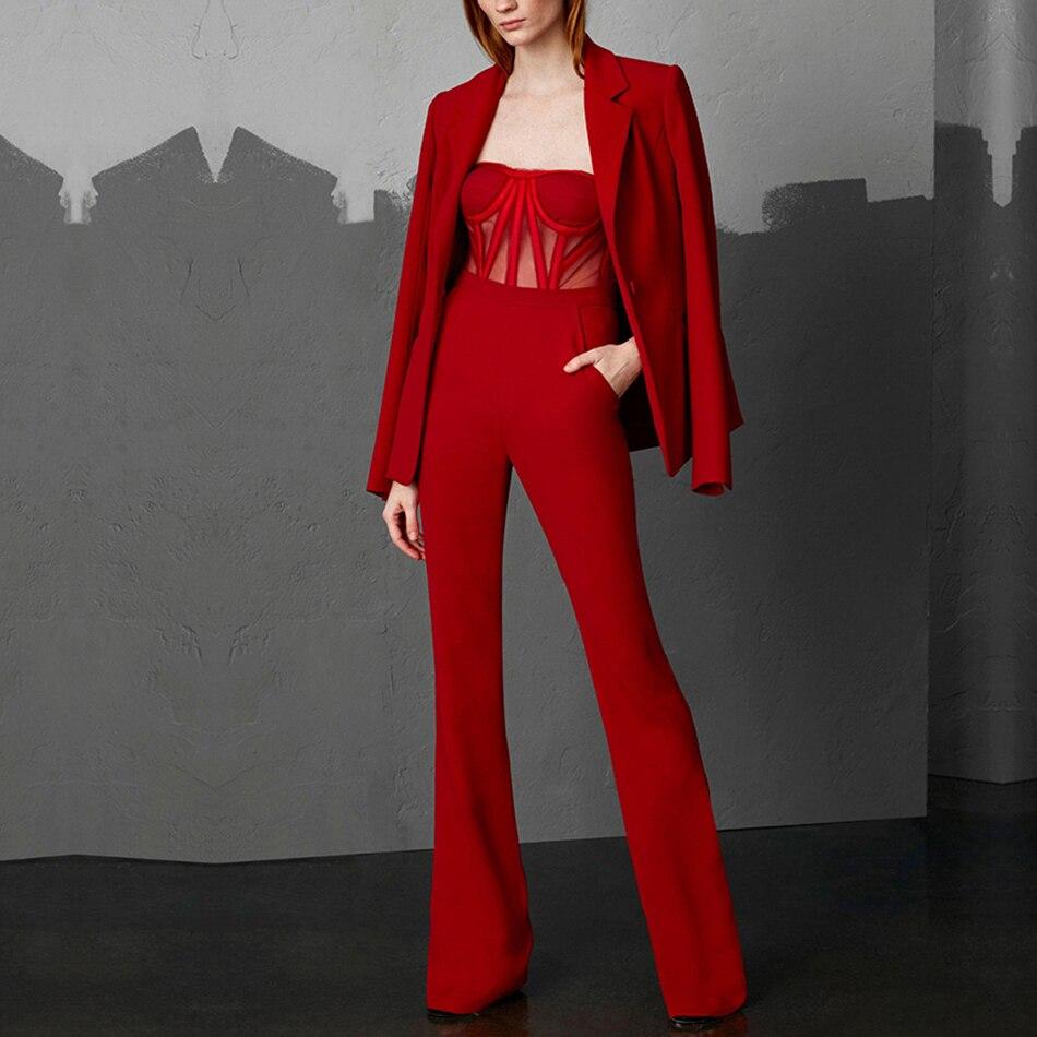 Nouveau Célébrité Deux Pièces Red Salopette Longues Manches Partie Soirée amp; 2019 2 De Ensemble Rouge Femmes Manteau Femme Ensembles Adyce Printemps À 5T6qO1wP