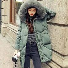 Новые женские пуховики с натуральным лисьим мехом с капюшоном средней длины однотонные карманы зима женский пуховик на утином пуху пальто верхняя одежда красный