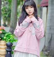 Harajuku Hoody Women Casual Flower Embroidered Long Sleeve Pink Hooded Coat