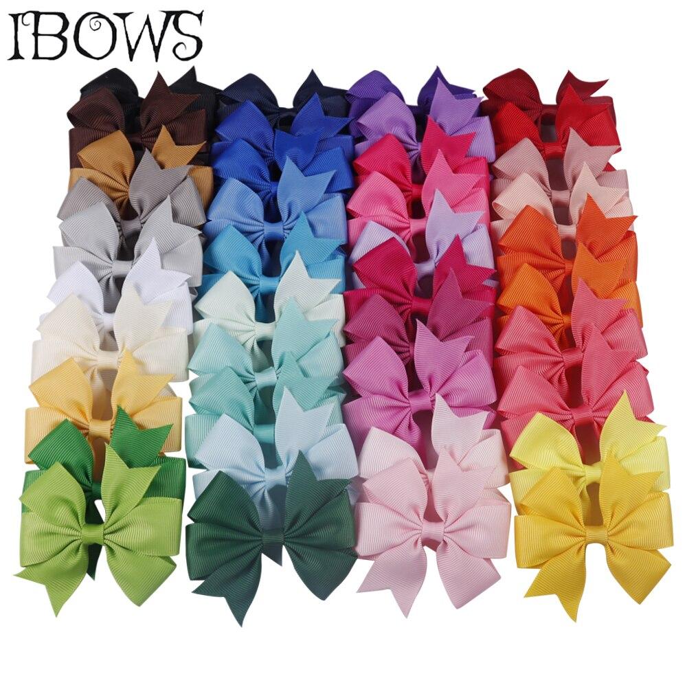 10Pcs/Lot 3'' Solid Pinwheel Hair Bows 40 Colors Grosgrain Ribbon Cute Hair Clips For Kids Girls DIY Hair Accessories Wholesale