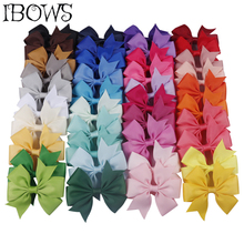 10Pcs/Lot 3 Solid Pinwheel Hair Bows 40 Colors Grosgrain Ribbon Cute Clips For Kids Girls DIY Accessories Wholesale