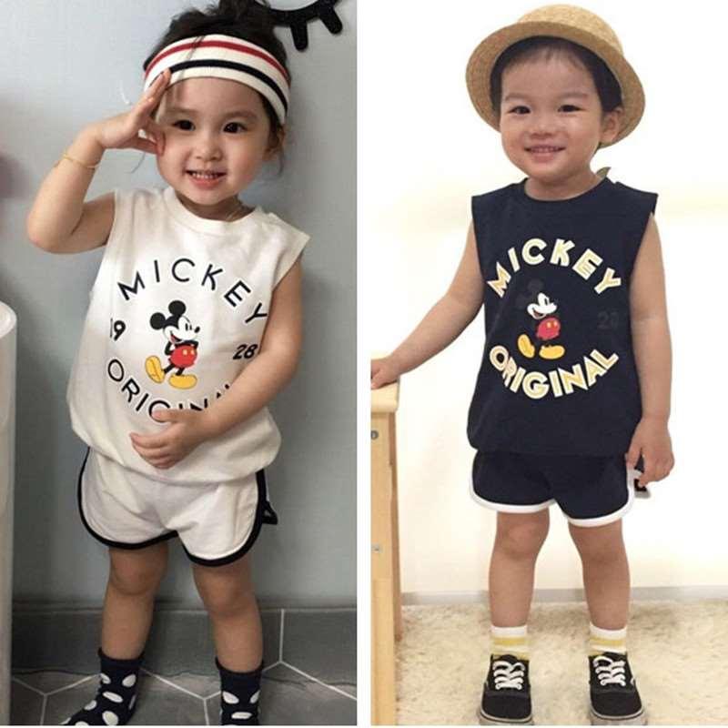 Vest Short-Pants Girls Baby-Boy Mickey Casual Fashion Summer Cartoon Retail Sleeveless