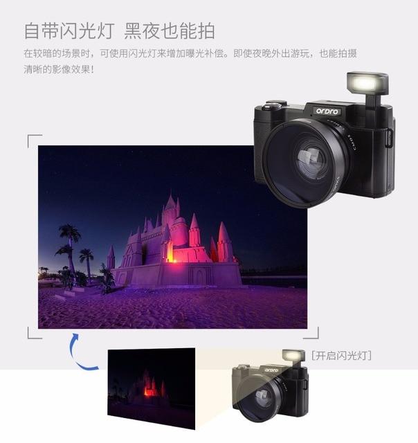 Ordro G36 Digital Cameras with 4x Telephoto Fisheye  Support Wide Angle Lens Camera Macro HD Camera Max 24MP