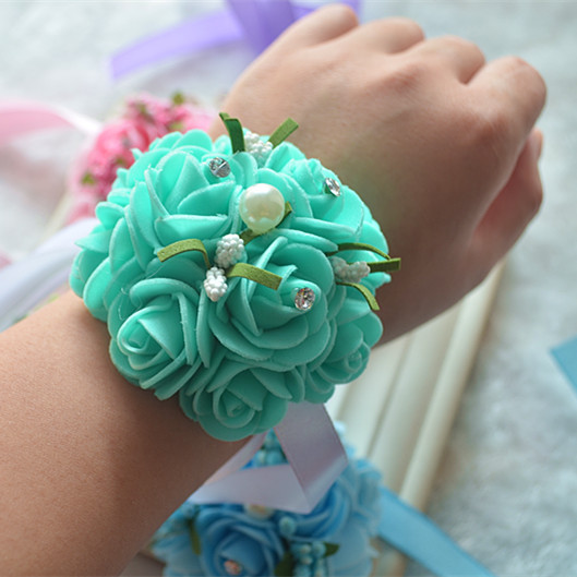 5pcs lot wedding customization handmade tiffany blue wedding wrist corsage  Hand with diamond pearl fabric flower corsage 84f744f22ed6