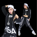 Free Shipping Loose Women Hip Hop Dance Clothes Female HBA Long Sleeves T shirt And Layered Harem Pants Set Jazz DS Costume