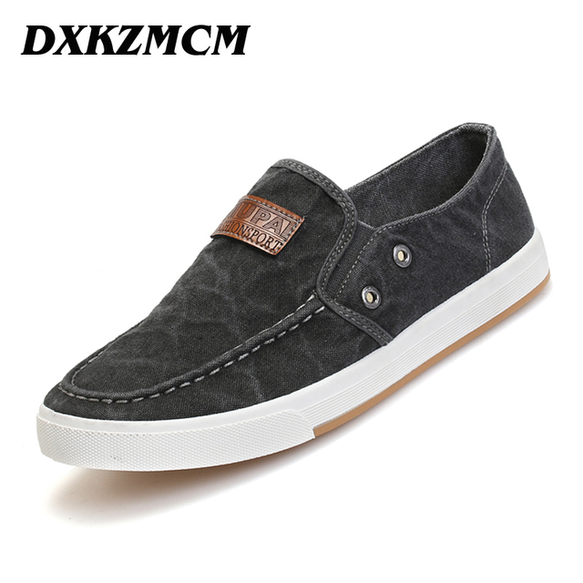 DXKZMCM arrival Men canvas shoes men breathable Fashion patchwork Men Flats shoes