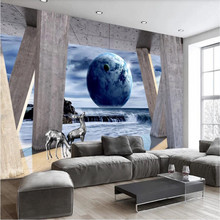 Custom wallpaper 3D stereo expansion space Roman column earth landscape background wall decoration waterproof material