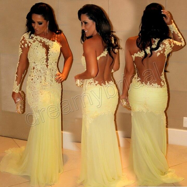Yellow Mermaid Prom Dresses 2014 Sexy See Throug...
