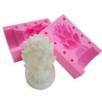 3D Fleur De Lotus Bougie Fabrication De Moules Outils De Cuisson Silicone Savon À La Main Moules Gâteau Au Chocolat Cookie Sucre Bonbons Glace Pudding Moule
