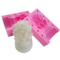 3D Flor de Loto Vela de La Fabricación Del Molde Herramientas Para Hornear de Silicona Moldes de Jabón Hecho A Mano Pastel de Chocolate de La Galleta de Azúcar Caramelo de Hielo Molde de Budín