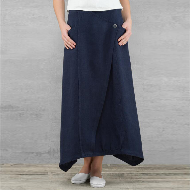 Celmia Vintage Women Maxi Skirts 19 Summer Casual Loose High Waist Asymmetrical Linen Skirt Plus Size Long Pleated Beach Skirt 8