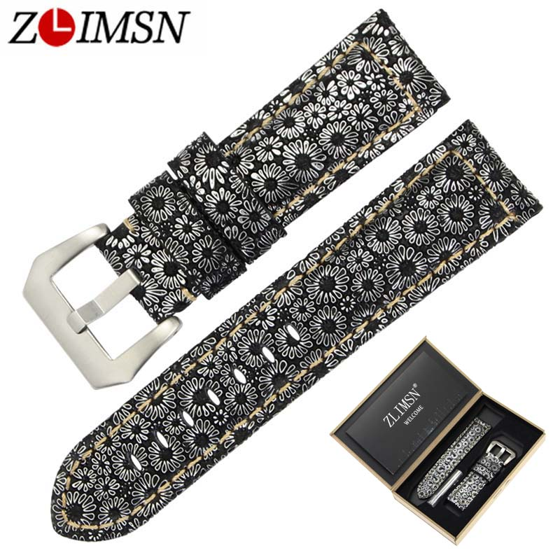 ZLIMSN Men Genuine Leather Retro Snowflake Lines Watch Band Replacemeht 24 26mm Watchband 316L Steel Buckle Suitable for Panerai new matte red gray blue leather watchband 22mm 24mm 26mm retro strap handmade men s watch straps for panerai