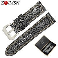 ZLIMSN Men Genuiue Leather Retro Snowflake Lines Watch Band Replacemeht 24 26mm Watchband 316L Steel Buckle