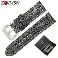 ZLIMSN Men Genuiue Leather Retro Snowflake Lines Watch Band Replacemeht 24 26mm Watchband 316L Steel Buckle