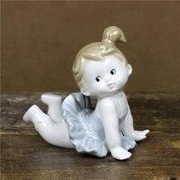 Lovely Porcelain Baby Ballet Dancer Figurine Handmade Ceramics Doll Ballerina Statuette Decor Art and Craft Ornament Accessories
