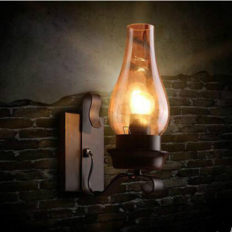 Işıklar ve Aydınlatma'ten LED İç Mekan Duvar Lambaları'de Retro Loft Demir Cam Duvar Lambası Bar Restoran Giriş Oturma Odası Deco Vintage E27 Sundurma Işık H 30 cm 80 265 v 1319 title=