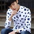 2017 Outono Camisas Dos Homens de Negócios Casuais Metrosexual Listrado Impresso Camisas Dos Homens Masculinos Roupas Masculinas Chemise Homme Xadrez Azul Vermelho