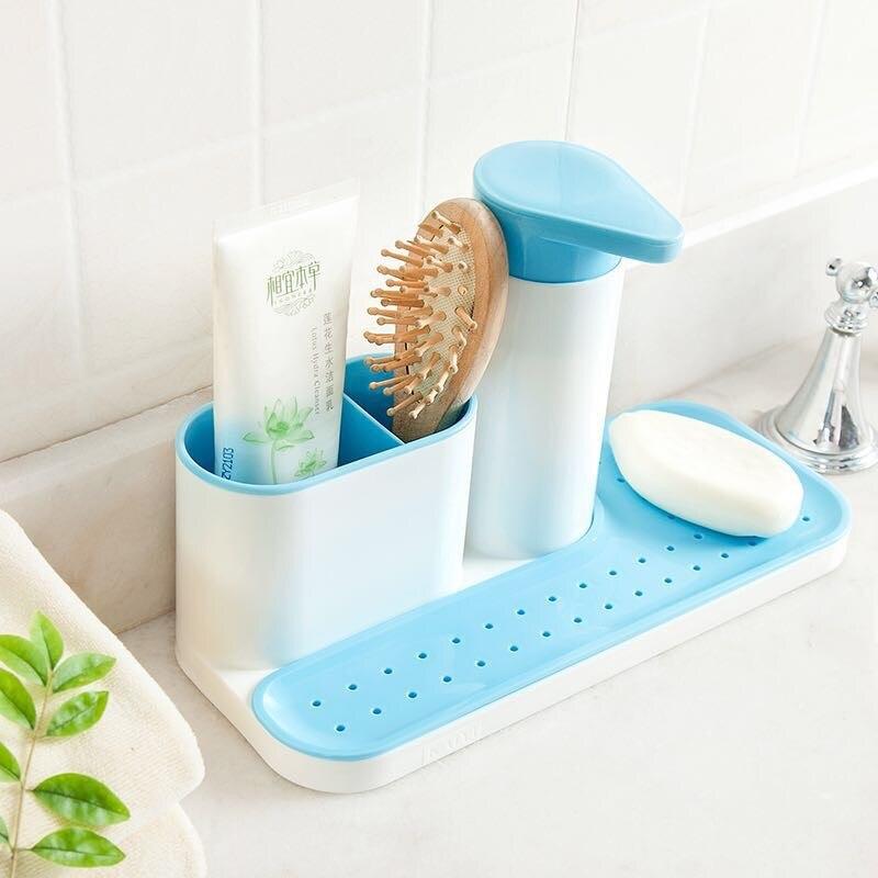 Bathroom Kitchen Washing Storage Rack Sink Detergent Soap Dispenser Storage Rack Organizer Stands Hand Sanitizer Bottle Racks & Holders     -
