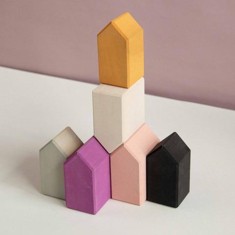 pequena casa de madeira blocos de construcao de blocos de construcao das criancas meninos e