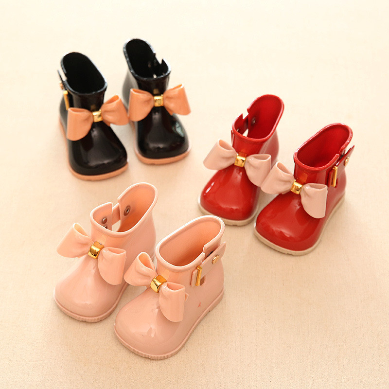 Kids Buckle Rubber Boots Waterproof Rainy Shoes For Girls Spring Autumn Butterfly Knot Casual Rain Boots Children Ankle Booties