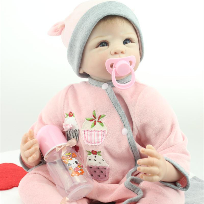 New 22 Inch Real Like Reborn Baby Girl Dolls NPK Realistic Silicone Reborn Babies For Kids