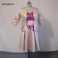 Elegant Tea Length Half Sleeve Champagne Mother Of The Bride Dresses With Jacket Black Appliques Pearls Godmother Dress CM0118