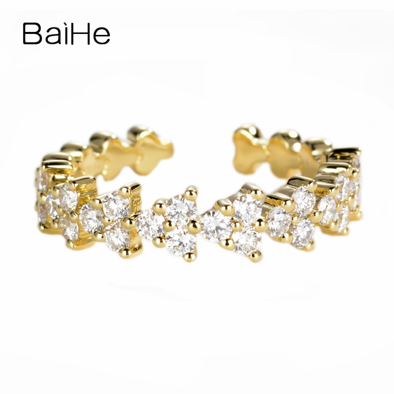 BAIHE Solid 14K Yellow Gold(AU585) Certified Total 0.64ct H/SI-SI3 Genuine Natural Diamonds Wedding Trendy Fine Jewelry RingBAIHE Solid 14K Yellow Gold(AU585) Certified Total 0.64ct H/SI-SI3 Genuine Natural Diamonds Wedding Trendy Fine Jewelry Ring